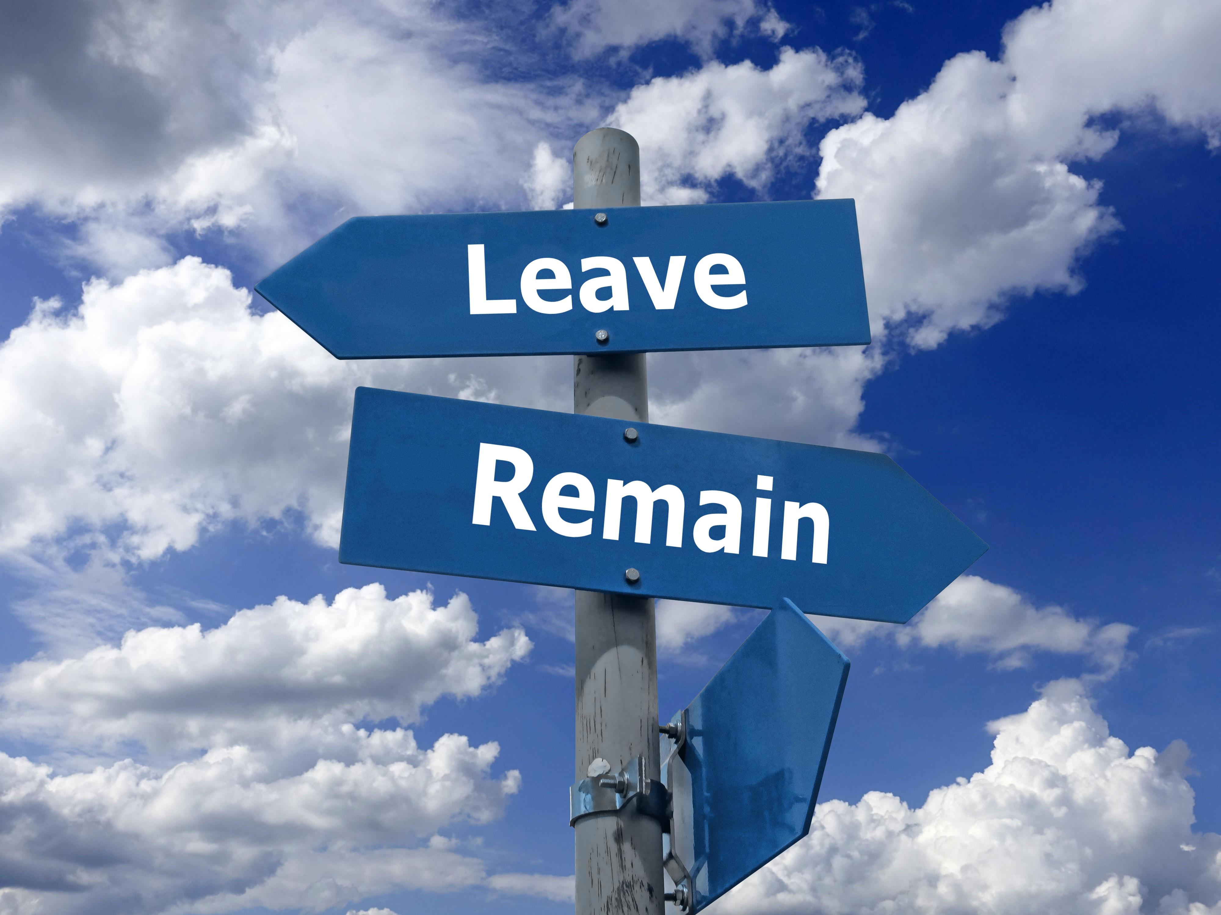 """Wegweiser vor blauem, leicht bewölktem Himmel, einer in Richtung """"Remain"""", einer in Richtung """"Leave"""", Hinweis für """"raus aus der Essstörung"""""""